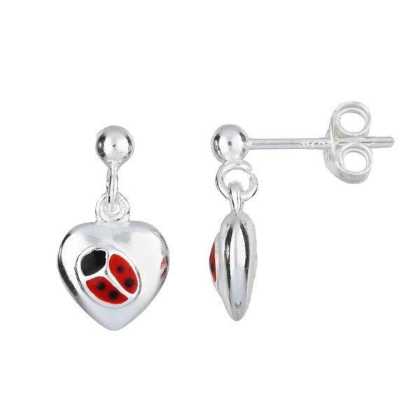 Zilveren kinderoorhangers - lieveheersbeestje hart