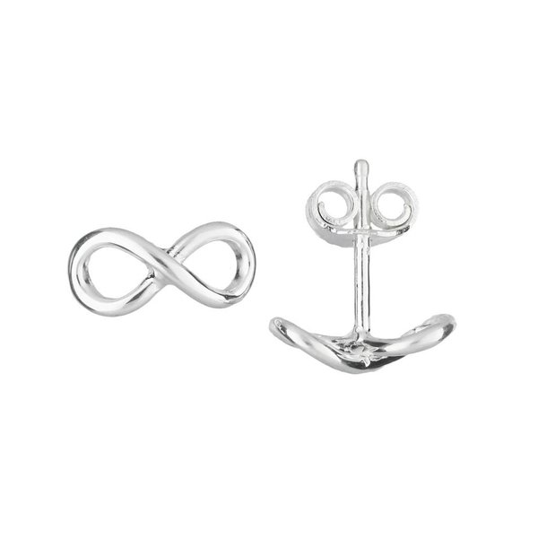 Zilveren oorknoppen - infinity - glanzend