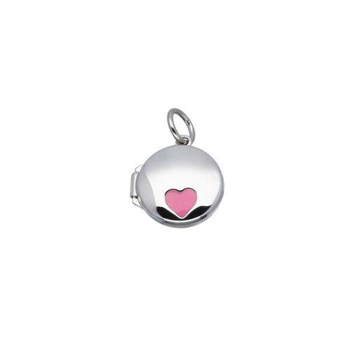 Zilveren kindermedaillon - rond met roze - 12mm