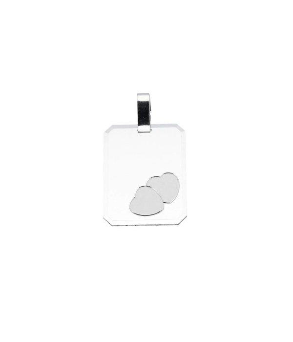 Best basics Zilveren graveerplaatje - 16 mm - rechthoek harten - 16 x 21 cm