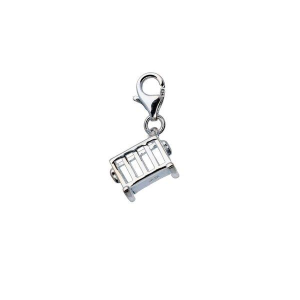 Zilveren bedel - wieg met karabijnhaak