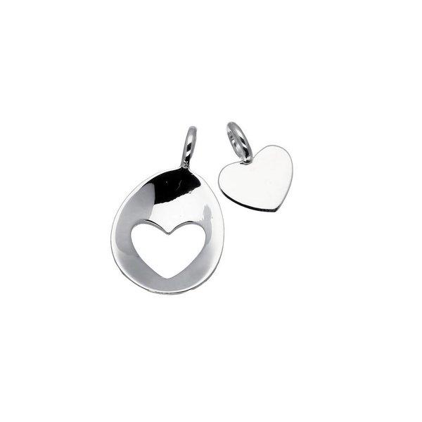 Zilveren hanger - moeder en kind - ovaal open hart