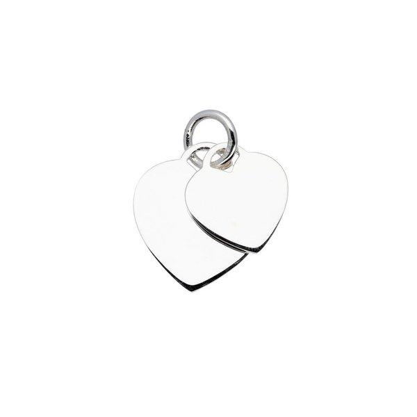 Zilveren bedel - 2 harten - 18 mm