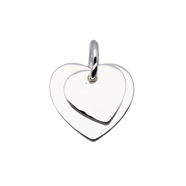 Zilveren bedel - 2 harten - 21 mm