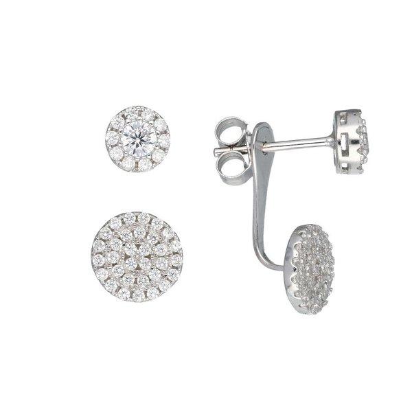 Zilveren gerodineerde earjackets - rond