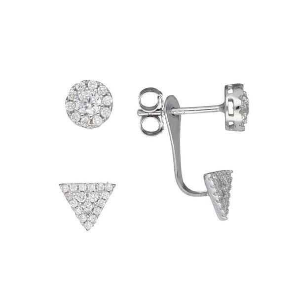 Zilveren gerodineerde earjackets - driehoek