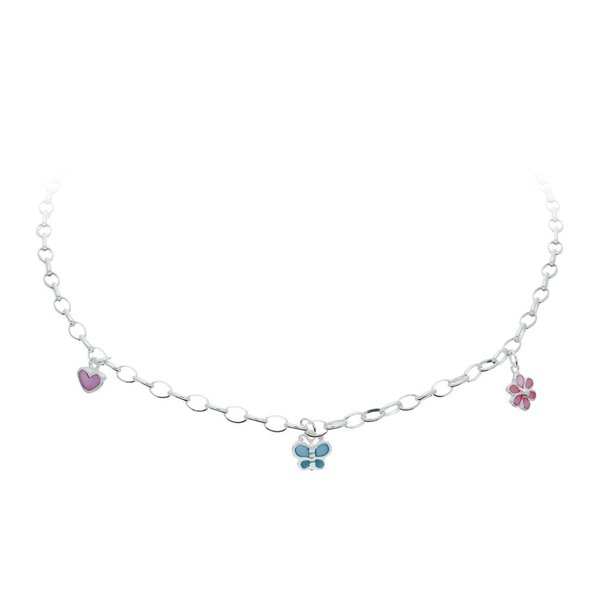 Zilveren bedelcollier - bloem, vlinder en hart