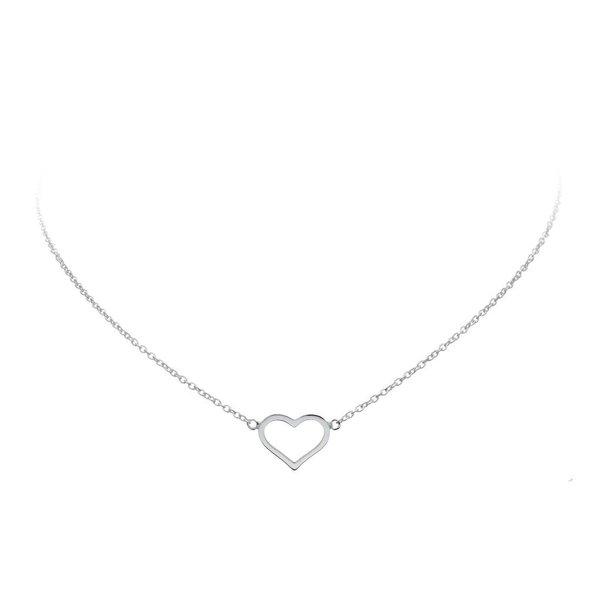 Zilveren collier met hanger  -  open hart