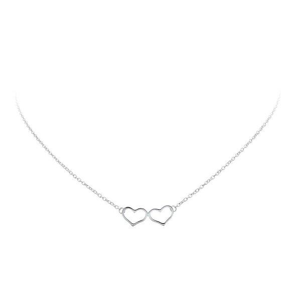 Zilveren collier met hanger -  twee open harten