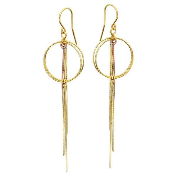 Zilveren wokkeloorhangers - gold/rose plated