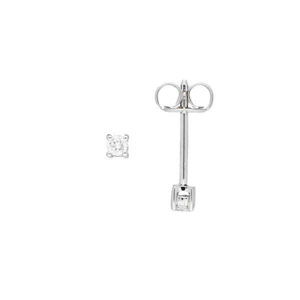 Witgouden solitair oorknoppen - diamant -2-0.08ct