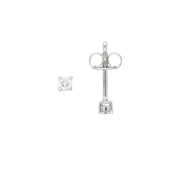 Witgouden solitair oorknoppen - diamant -2- 0.1ct.