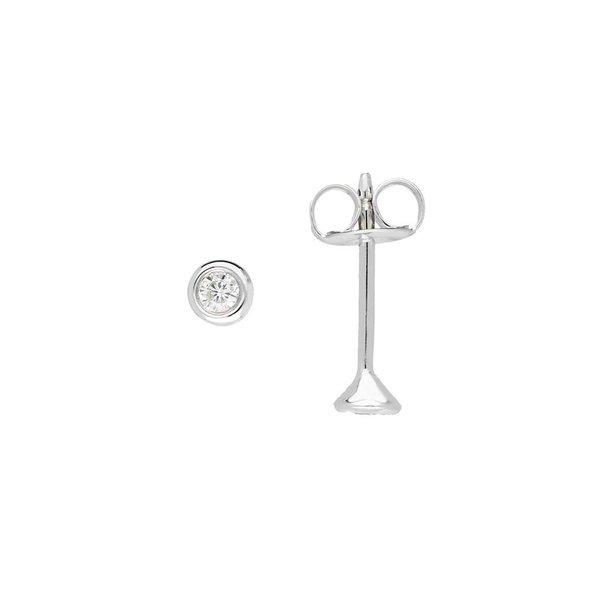 Witgouden solitair oorknoppen - diamant -2 -0.08ct