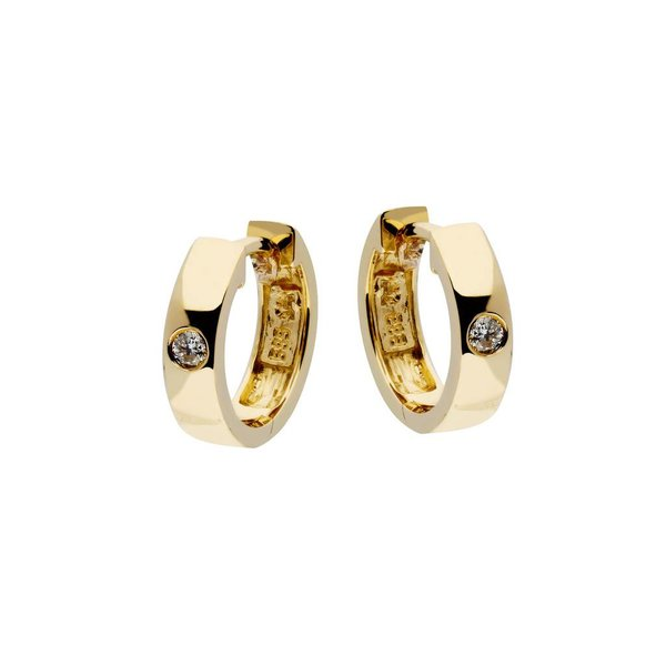 Gouden klapcreolen - diamant - 2-0.04ct - g/si
