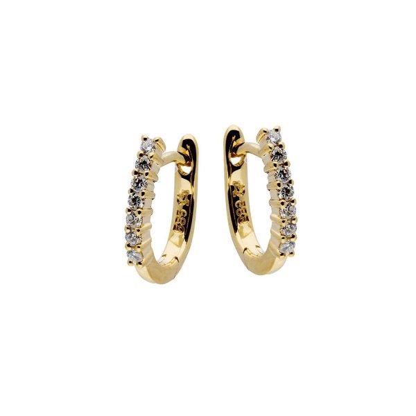 Gouden klapcreolen - diamant - 14-0.14ct - g/si