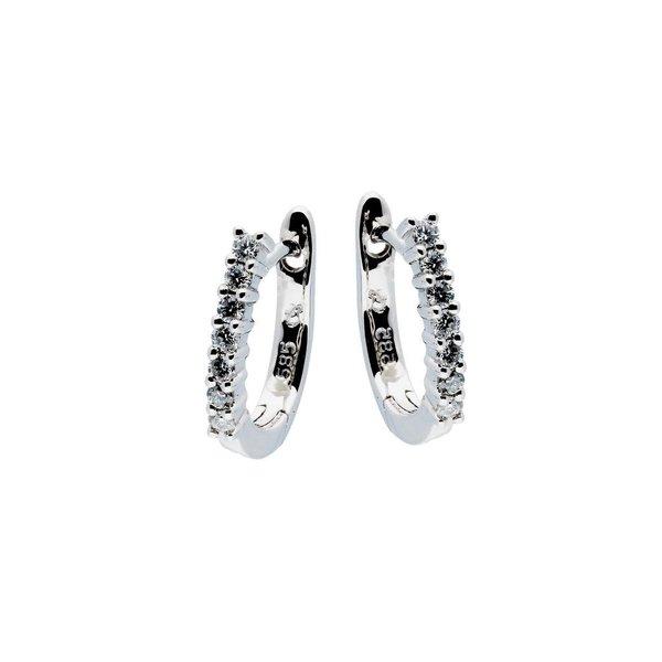 Witgouden klapcreolen - diamant - 14- 0.14ct