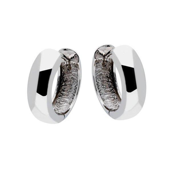 Witgouden klapcreolen - ronde buis - 15 x 5.0 mm