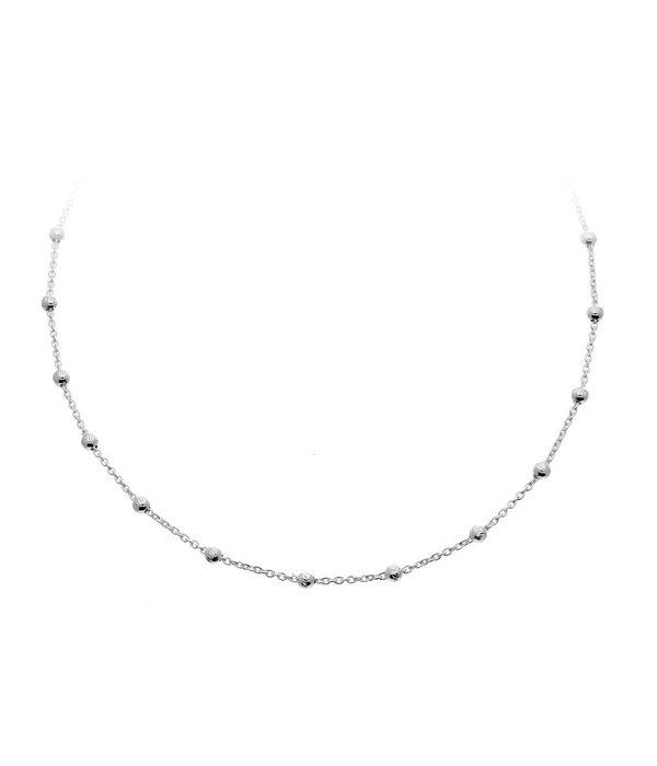 Best basics Zilveren collier - anker - bolletjes - 36-38 cm