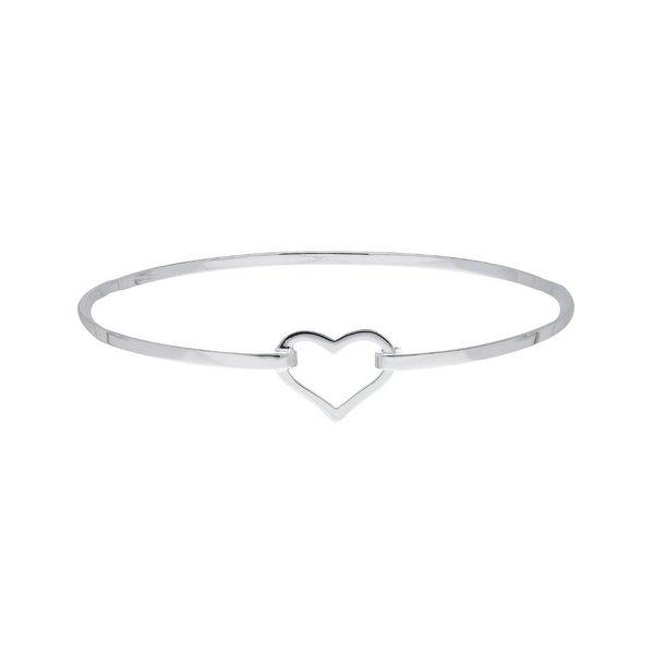 Zilveren klemarmband - open hart