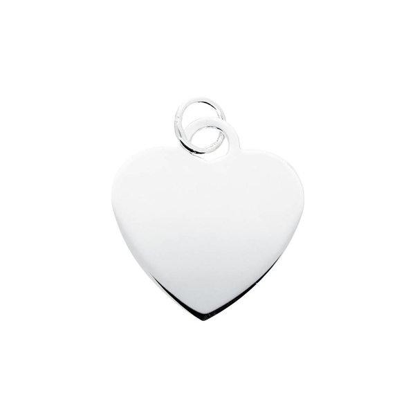 Zilveren graveerplaatje - hart - 20.5 x 27 mm