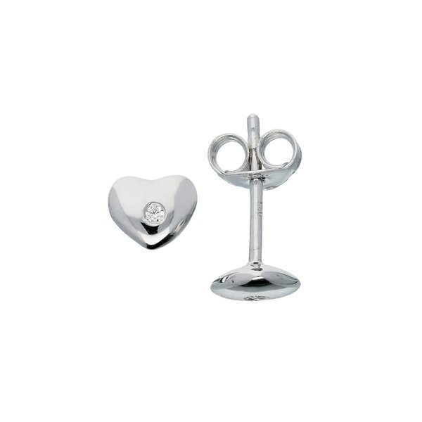 Zilveren kinderoorknoppen - hart met zirkonia