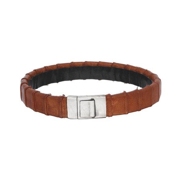 Zilveren armband gents collection - leer