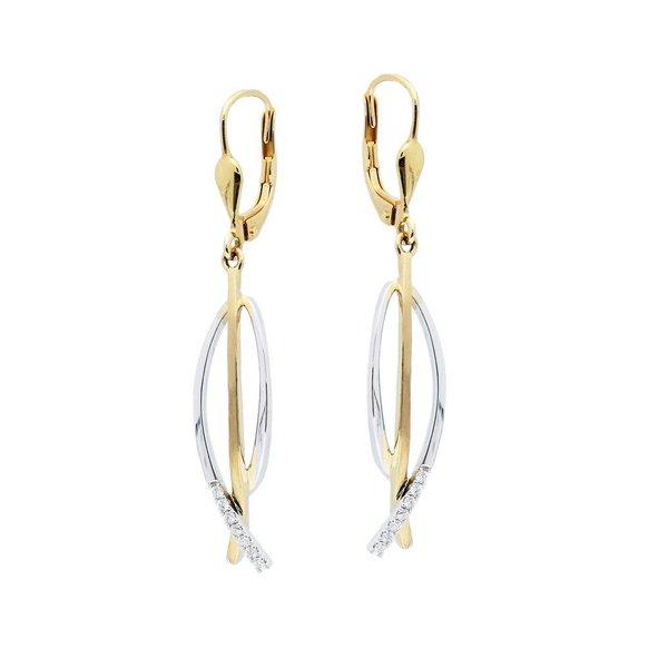 Gouden oorhangers - bicolor - mat glanzend