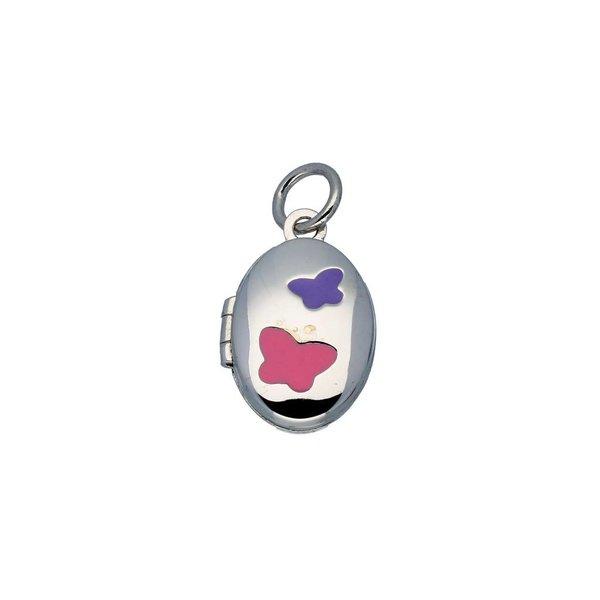 Zilveren kindermedaillon - ovaal met roze en paars