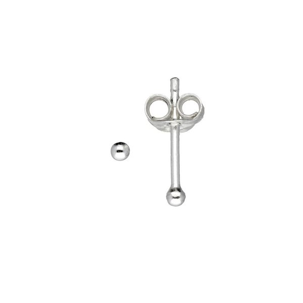 Zilveren boloorknopjes - 2 mm