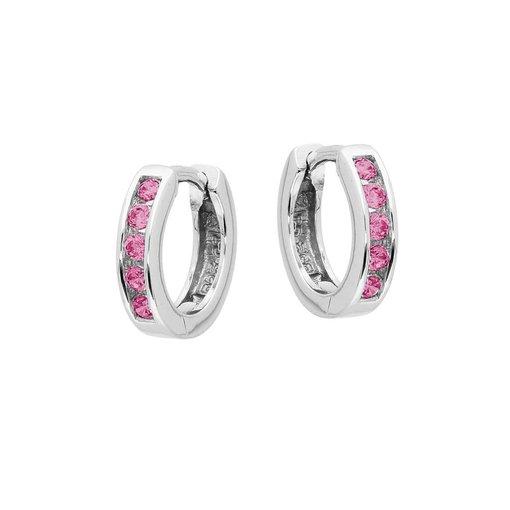 Zilveren klapcreolen - roze zirkonia