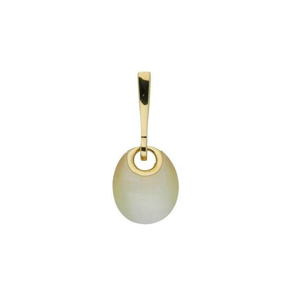 Zilveren gold-plated hanger - gele cat's eye
