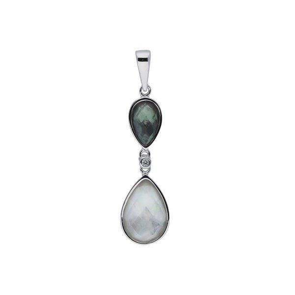 Zilveren hanger - wit met donkergrijze cat's eye
