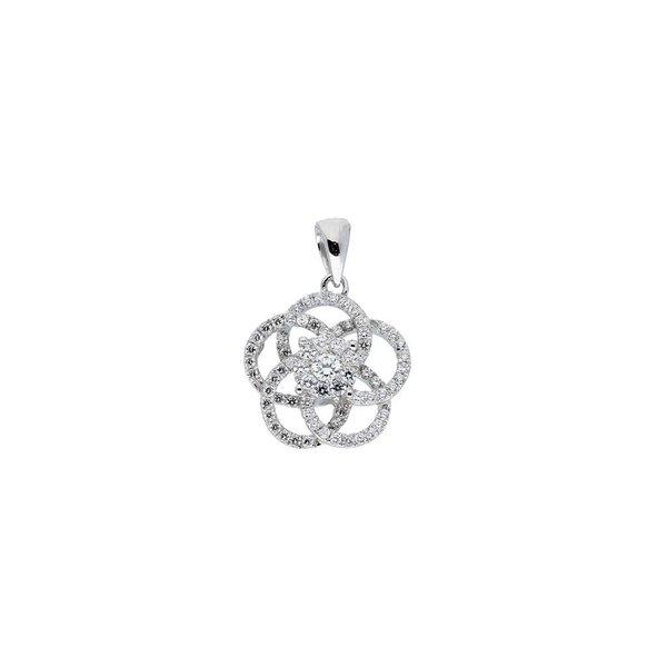Zilveren symboolhanger - roos met zirkonia