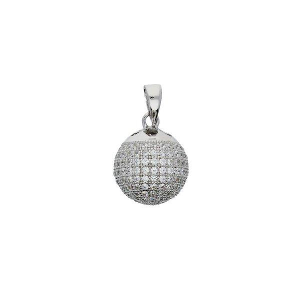 Zilveren hanger - bal pavé bezet met zirkonia