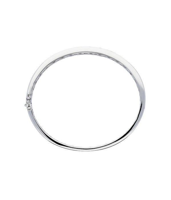 Classics Zilveren slavenband zirkonia 5 mm - ovaal - 56 mm - Gerodineerd
