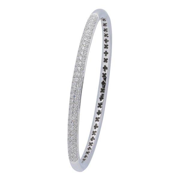 Zilveren slavenband - zirkonia - rond