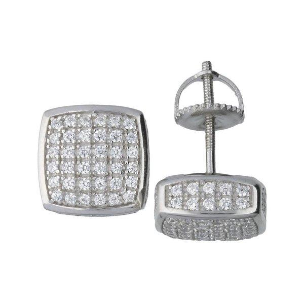 Zilveren oorknopjes met steen - vierkant - 8 mm