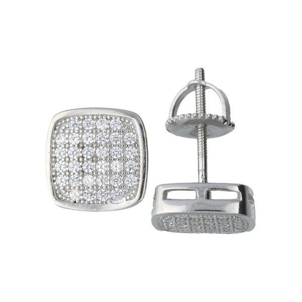Zilveren oorknopjes met steen - vierkant - 7.5 mm