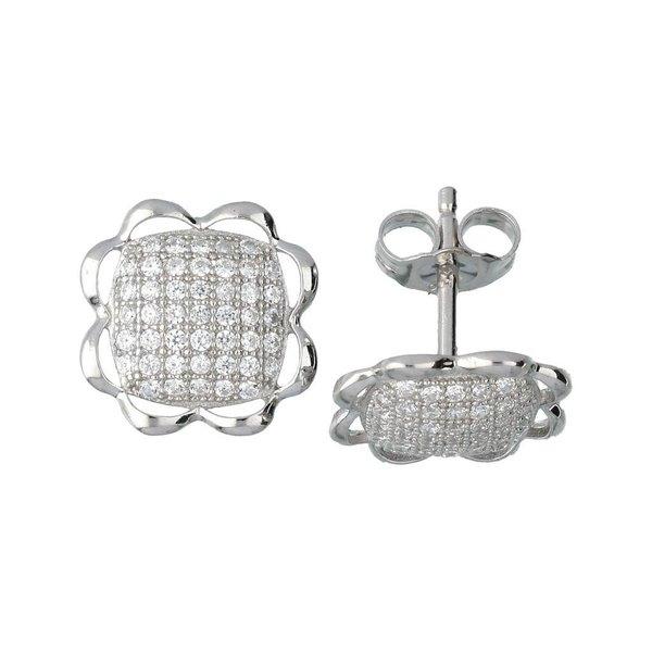 Zilveren symbooloorknopjes - bloem - pave zirkonia