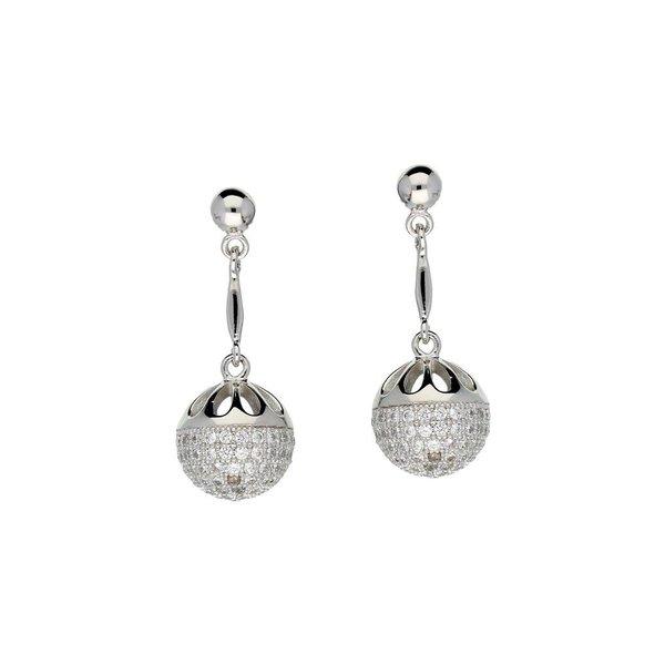 Zilveren oorhangers met zirkonia - pave bol