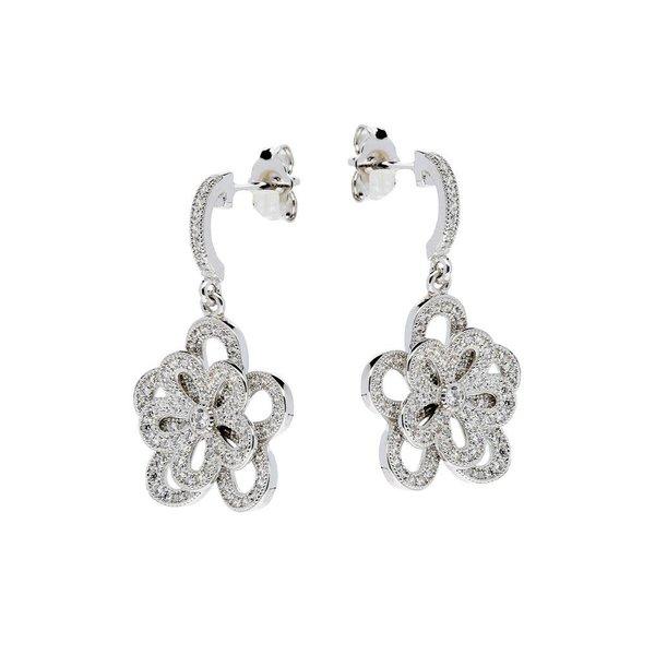 Zilveren oorhangers - pave met zirkonia - bloem