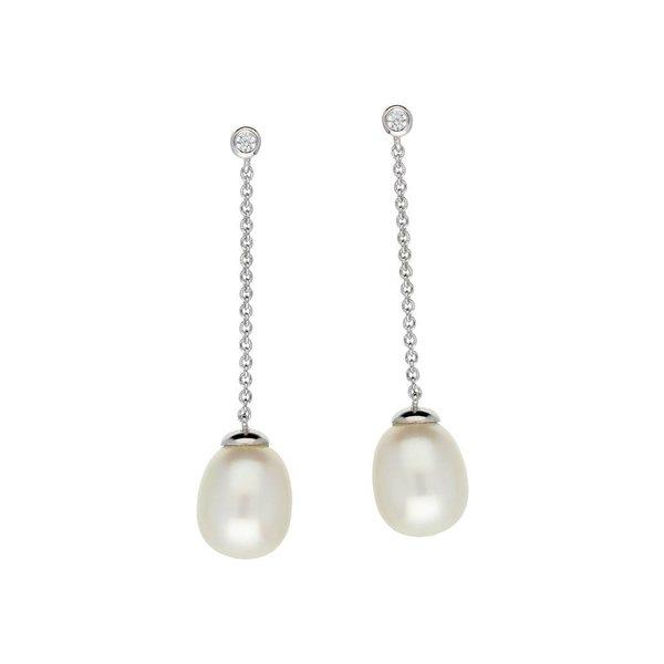 Zilveren oorhangers - zoetwaterparel  - zirkonia