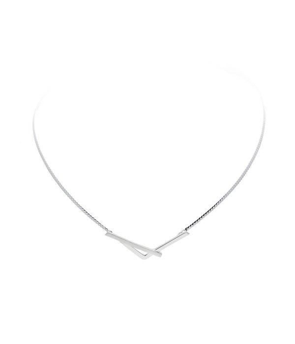 Best basics Zilveren collier - mat glanzend - 43 + 2.5 cm