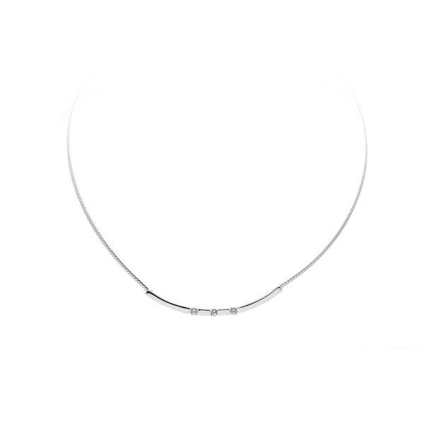 Zilveren collier - glanzend - zirkonia