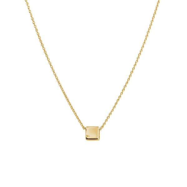 Gouden collier met hanger - vierkant
