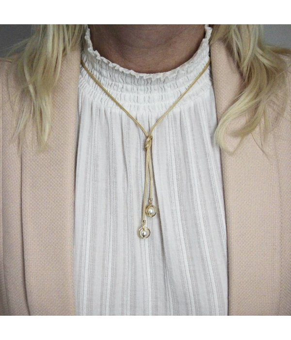 Best basics Zilveren gold-plated y-collier - calza - parel -