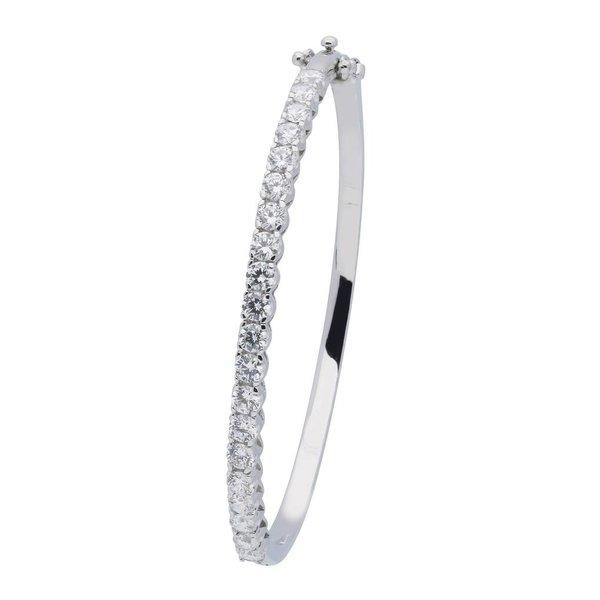 Zilveren slavenband - zirkonia - ovaal