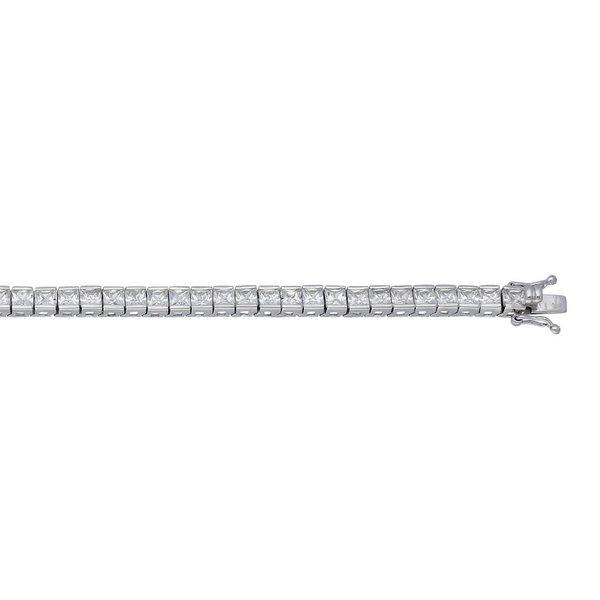 Zilveren tennisarmband - vierkante zirkonia
