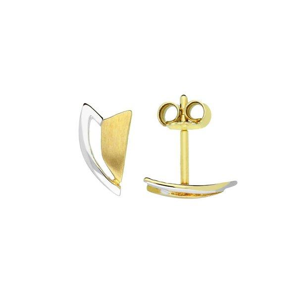 Gouden oorknopjes zonder steen - bicolor