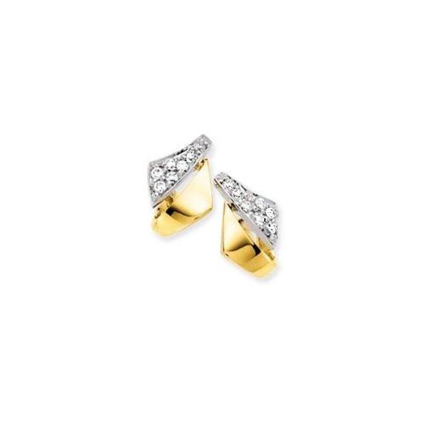 Gouden oorknoppen - bicolor - zirkonia - fantasie